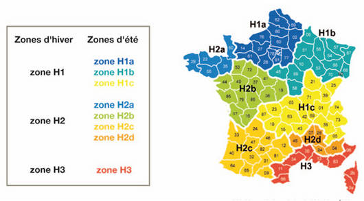 carte de france zone climatique