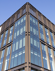 External shot of Kirkstall forge highlighting the user of angles and Curtain Walling - WICONA Project